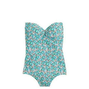 J. Crew Blue/Green Bandeau Swimsuit 4 NWT